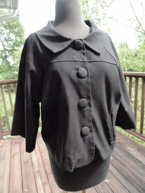 Women's JOHN PAUL RICHARD Short Black Jacket Wide Jackie O Fully Lined S 12 NWOT