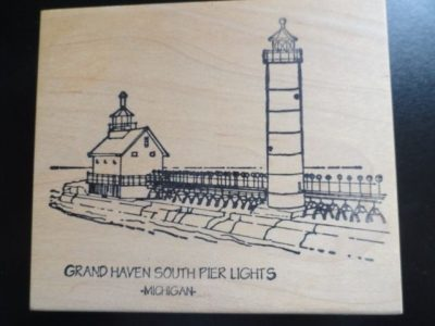GRAND HAVEN SOUTH PIER LIGHTS LIGHTHOUSE Michigan Rubber Ink Stamp  New