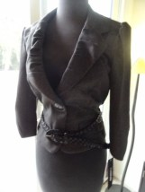 Girl's My Michelle Pin Strip Black & White Jacket With Belt Size L Lined NWT