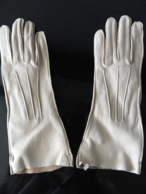 Vintage Ladies Deerskin Leather Gloves 5.5 Style 37 New Lite Beige USA