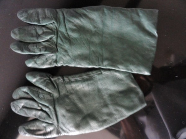 Vintage Ladies Hunter Green Leather Gloves 6 100% Cashmere Lining Lord & Taylor