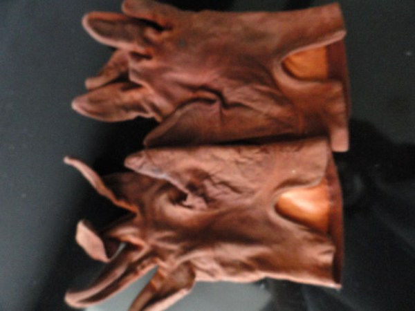Vintage Men's Brown Leather Suede Gloves SFA Gold Accents Italy Made In USA