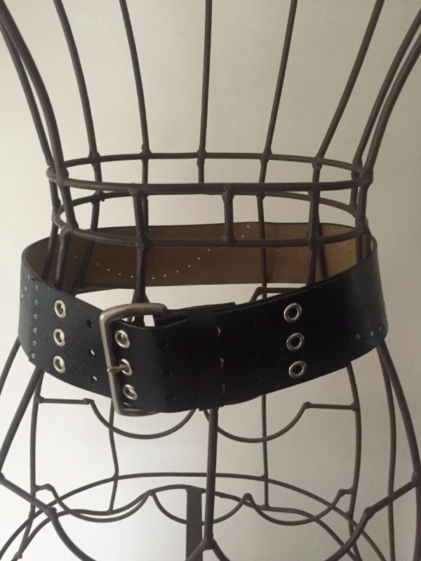 "Vintage LIZ CLAIBORNE Wide Black Cowhide Belt Womens's Small China 35""x2.5"""