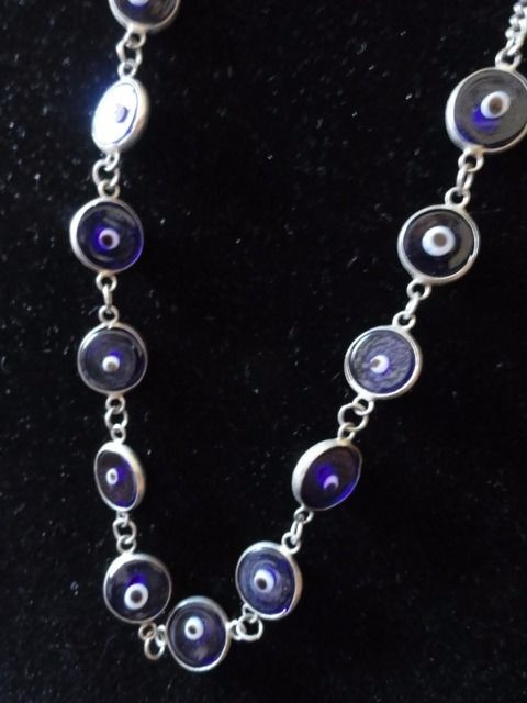 "Bisou Bisou Glass Bead Evil Eye Necklace 18"" Adjustable Length 13 Beads Silver"