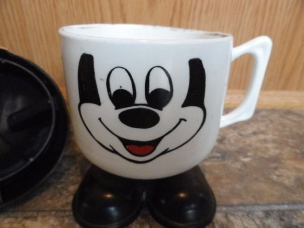 Vtg Walt Disney Productions Mickey Mouse Mug Plastic Cup Straw Hole Yellow Ears