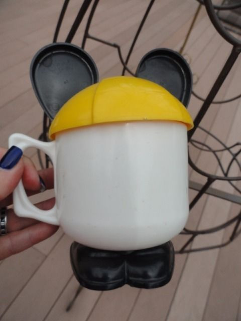 Vtg Walt Disney Productions Mickey Mouse Mug Plastic Cup Straw Hole Black Ears