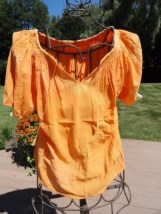 Vtg Women's 1975 Handmade Romanian Short Sleeve Top Blouse Orange Embroidered