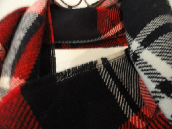 Vintage Red Blue White Plaid 100% SUPERFINE ACRYLIC Scarf Made In USA Preowned