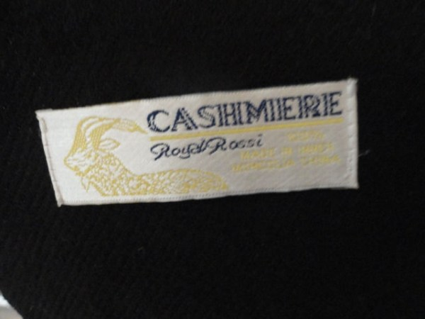 Vintage ROYAL ROSSI CASHMERE 100% Black Scarf Made in Inner Mongolia China NWOT