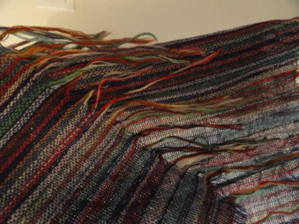 "Vintage Multi Colored 100% Wool Shawl Handmade 5"" Fringe Preowned No Tag"