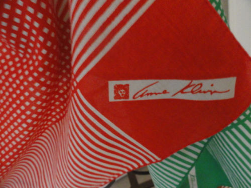 Vtg  ANNE KLEIN 100% Cotton Checked Stripe Scarf Set of 3 Brown White Green Red