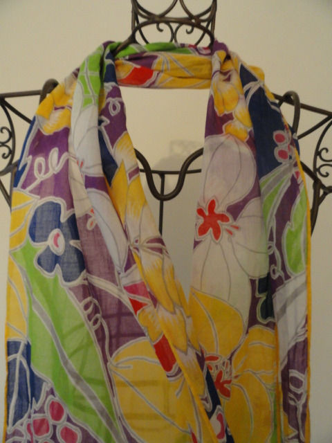 Vintage Floral Hippie Multicolored Scarf 100% Cotton Unique Length Preowned
