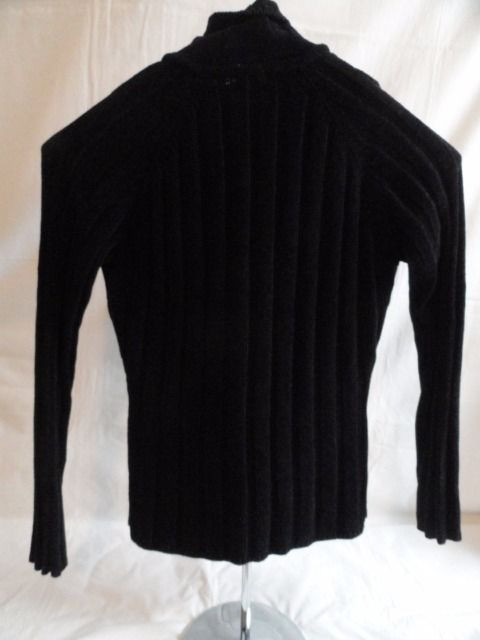 Women's GUESS Jeans Black Knit Top Blouse Zip Up 100% Acrylic Long Sleeve Small