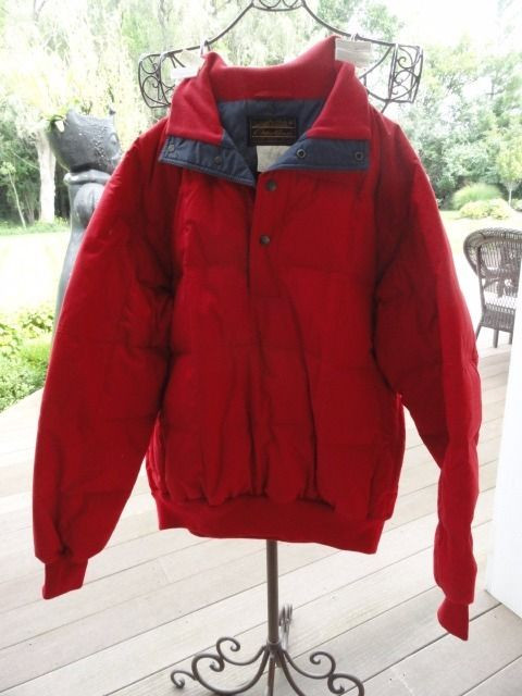 Eddie Bauer Red Pullover Jacket Premium Quality Goose Down Large Item #4794