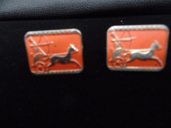 Vintage Gold & Orange Roman Archer Horse Drawn Chariot Cufflinks Handmade Ex Con