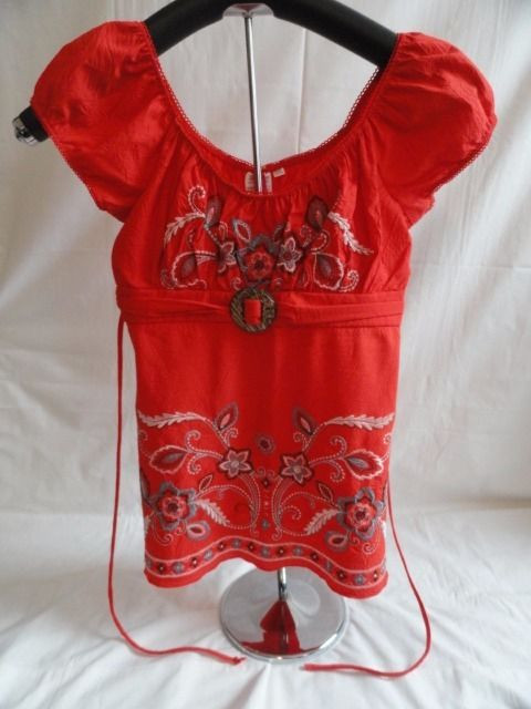 Women's Orange Embroidered Peasant Top Empire Waist Buckle Ties In The Back M