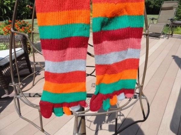 Vtg 70's Original Muted Multi-Colored Knit Toe Socks Over The Knee One Size