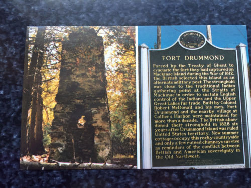 Vintage Postcard Uncirculated Unposted FORT DRUMMOND Michigan Drummond Island