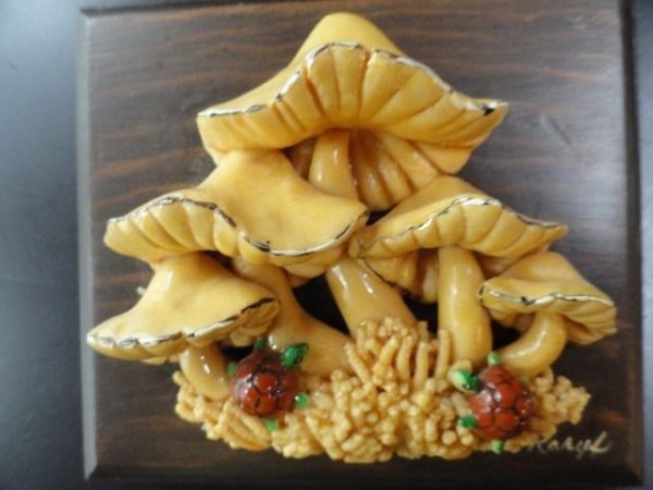 Mushroom & Turtle 3D Relief Art By Karyl On Wood Plaque Folk Art Handmade