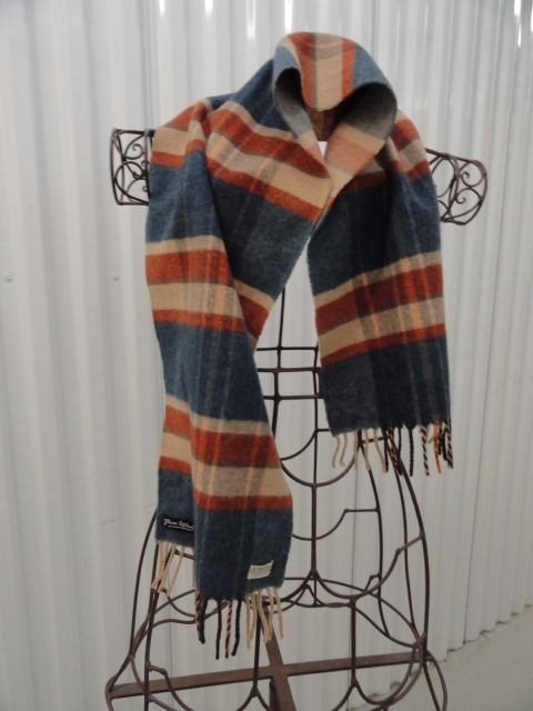 Vintage Saks Fifth Avenue Made In West Germany Pure Wool Blue Beige Plaid Scarve