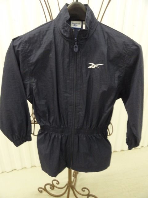 Reebok Girl's Navy Blue Light Weight Jacket 100% Nylon Size Medium Zip Up Front