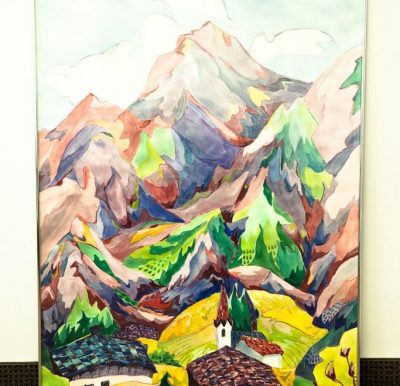"""Vtg 70's  JOHANNA HAAS """"THE ALPS PASTEL MOUNTIANS""""  Watercolor Painting Signed"""