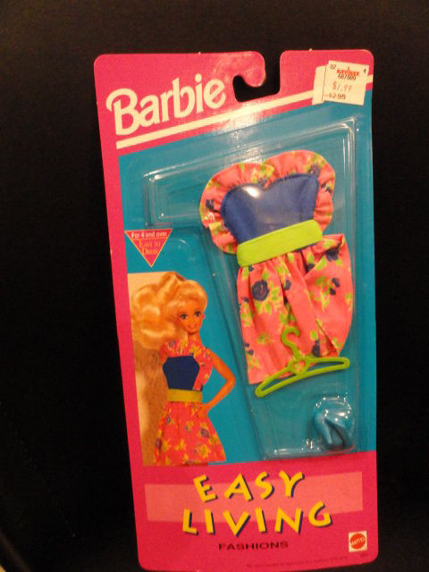 Barbie Easy Living Fashions 1992 Mattel NIP Blue & Pink Dress Blue Shoes Hanger