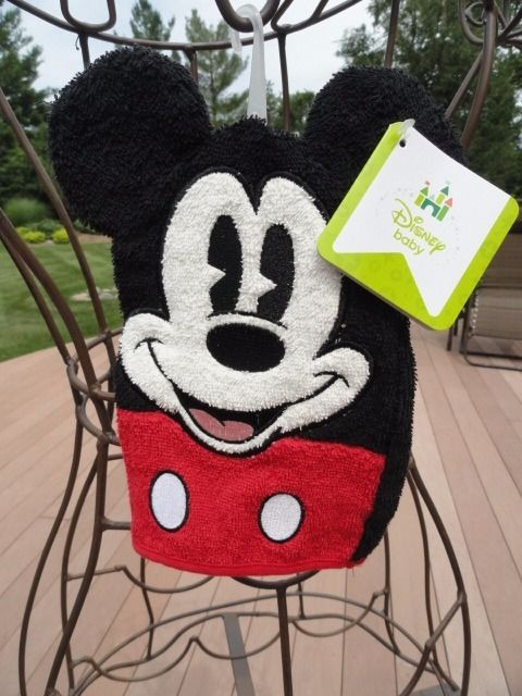 "Disney Baby Mickey Mouse Wash Mitt Wash Cloth 5.5"" x 8.25"" Kohls All Cotton NWT"