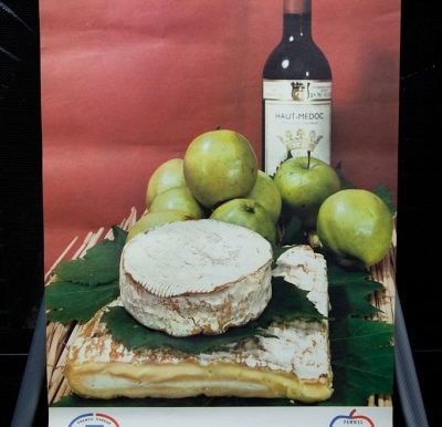 Vtg 1970's French Cheese Poster Art Pomme De  France Haut Medoc Wine Camembet