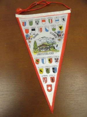 "Vtg Historical Banner Pennant 2 Sided Cloth Suisse Schweiz Switzerland 10""x6"""