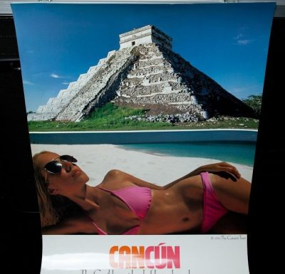 "CANCUN 1990 Mexico Travel Poster THE CANCUN TRUST 30"" X 22"" Laminated"