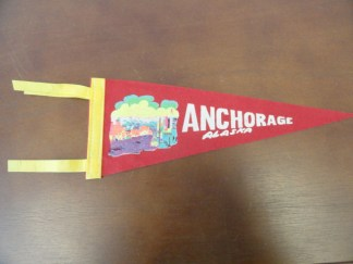 "Vtg Historical Banner Pennant Anchorage Alaska 11.5""x4 3/4"" Flaps 3"" Double Yell"
