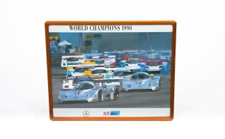 """Mercedes Benz World Champions 1990 Offical Showroom Poster Wood Frame 17"""" x 21"""""""