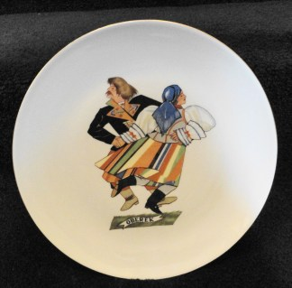 "Vintage Favolina China Polish Dancers ""Oberek"" Plate Made In Poland Mnt Cond"