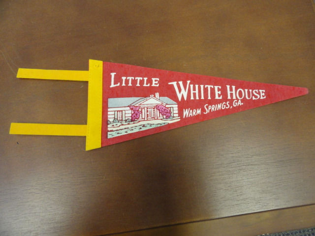 Vtg Historical Banner Pennant Little White House Warm Springs, GA. End Cut Off