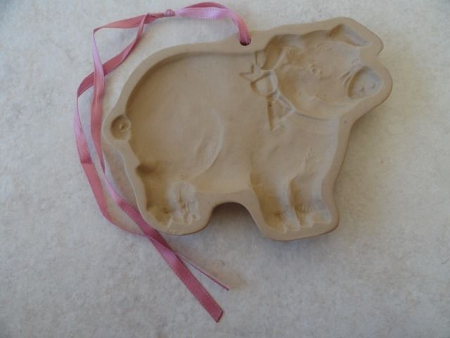 "Brown Bag Cookie Art Pig No Date 6"" x 4"" Ceramic With Pink Ribbon"