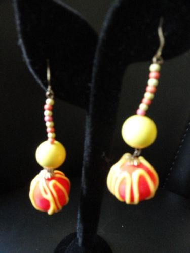 Vintage 1960's Women's Pop Art Hand Made Earrings Beaded Fun Flower Power 3""