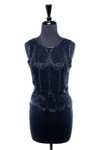 Women's Black Shear Camisole Hand Beaded 100% Silk India Purple Tones Preowned