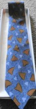 Men's Tie by Lord & Taylor NWOT 100% Silk Made in Italy Blue Geometirc Motif