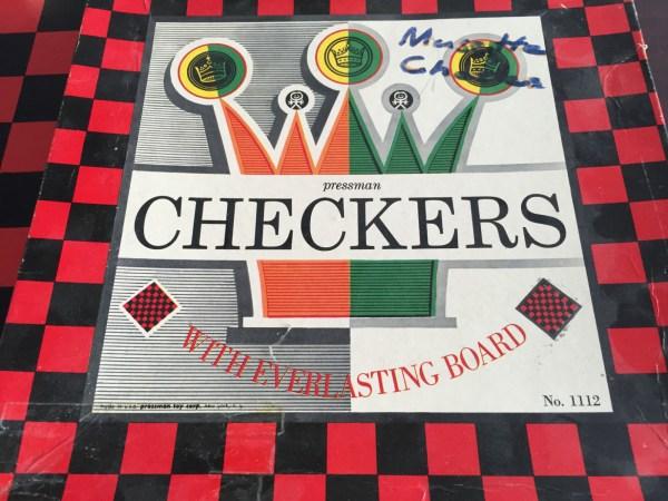 Vintage 1960's Pressman CHECKERS No 1112 WITH EVERLASTING BOARD 6x6x2