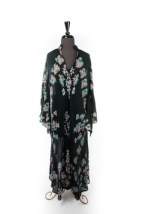 Vtg 70's  Black Hand Painted Floral Print Rose Green Leaves Women's Dress Large
