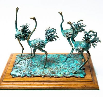 Vintage 1970's Bronze Sculpture Ostriches Signed Artist EVANS Hand Made Preown