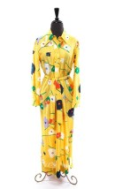 Vintage Women's Lisa Cobb Saks Fifth Avenue Maxi Silk Yellow Floral Maxi Dress