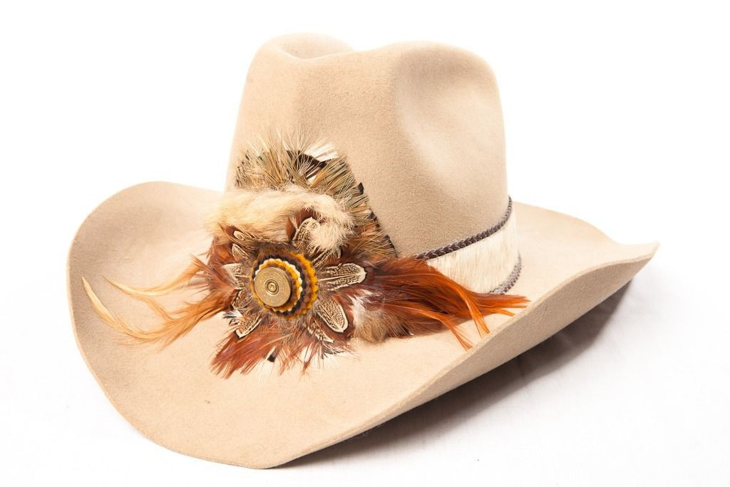 e35156b5b00dd Vtg Men s Custom Western KC BEE HATS Feather Band Remington Peters Shell  KEUTHAN