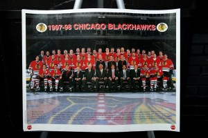 1997- 1998 NHL Chicago Blackhawks Poster Coca Cola  Capt. Chris Chelios New