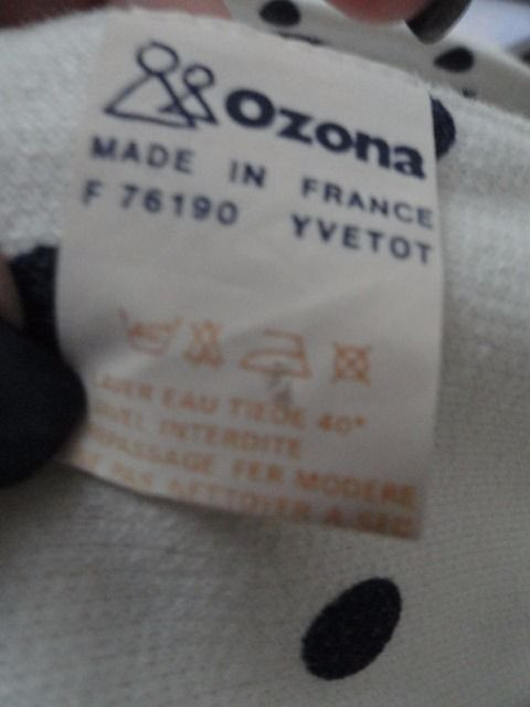Vintage 1980's Ozona Made in France Scarf Cream Color Navy Blue Polka Dots