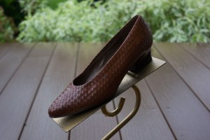 Women's NICOLE Leather Brown Woven Shoes Pumps 6 M Denise Brazil Preowned