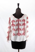 Vtg 1975 Women's Handmade Romanian Embroidered Blouse Red Black Preowned Sm