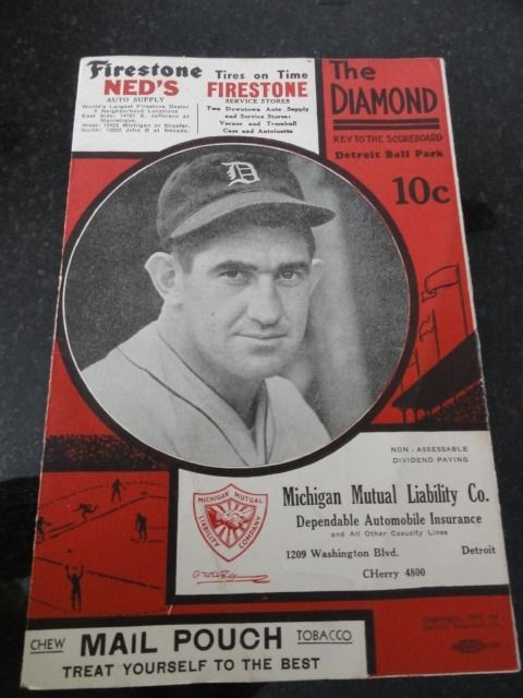 1935 THE DIAMOND Detroit Ball Park Score Card Navin Tigers v Chicago White Sox