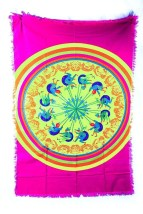Vintage 60's 70's Pop Art Mod Tablecloth Linens Textile Love Child Psychedelic